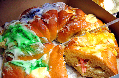 King cake: if your slice has the baby, you buy the next cake!